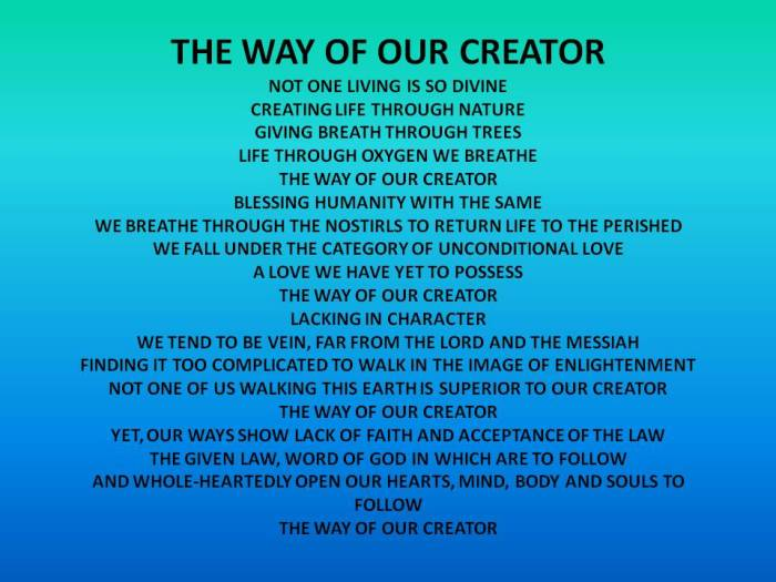 THE WAY OF OUR CREATOR