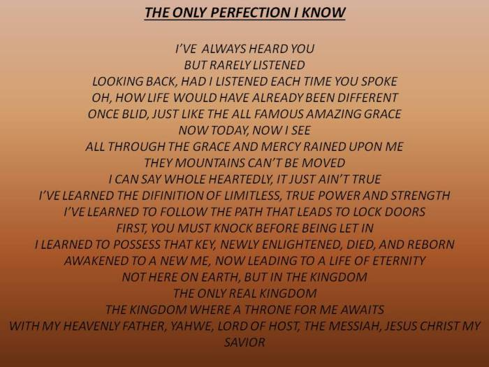 ONLYPERFECTIONIKNOW